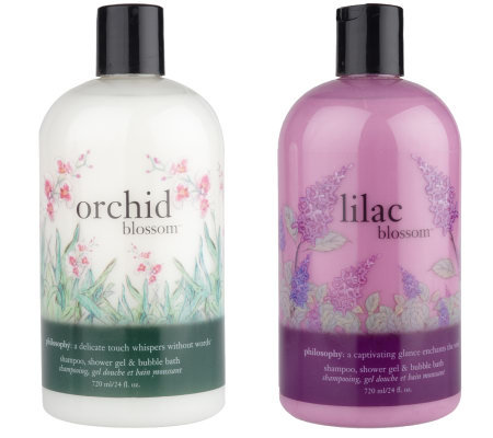 philosophy lilac blossom & orchid blossom shower gel duo, 24 oz.