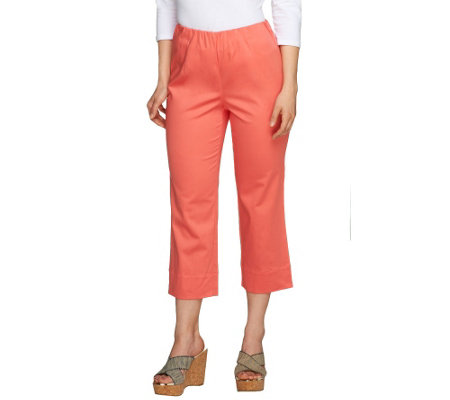 Susan Graver Stretch Cotton Sateen Side Zip Crop Pants