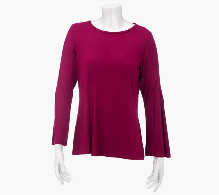 Susan Graver Stretch Knit Top with Pintuck Sleeve Detail