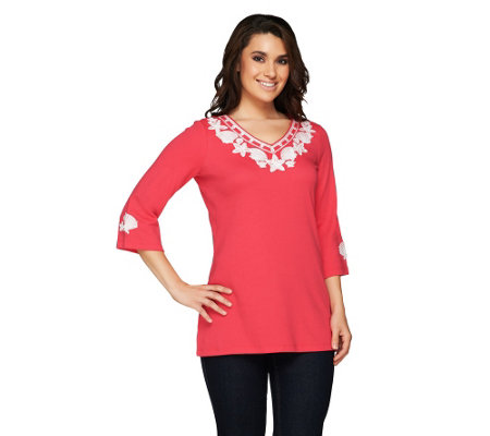 Quacker Factory Pearly Embroidered Seashell Tunic