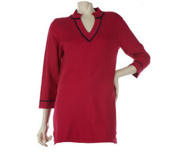 """As Is"" Susan Graver V-neck Tunic Sweater with Mandarin Collar - A252856"