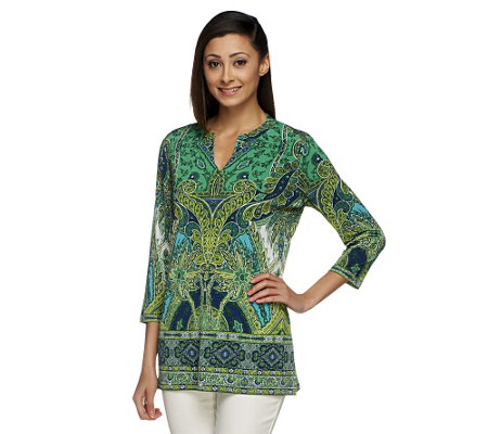 Susan Graver Liquid Knit Split Neck 3/4 Sleeve Printed Tunic