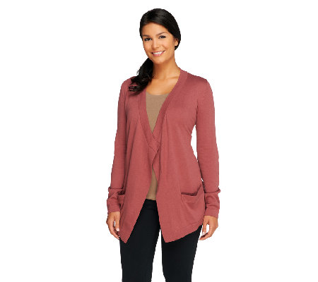 LOGO by Lori Goldstein Cotton Cashmere Cardigan with Elbow Patch