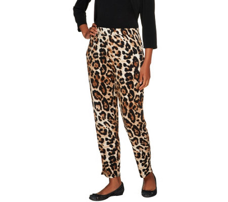 Susan Graver Printed Liquid Knit Straight Leg Ankle Pants