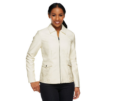 """As Is"" Dennis Basso Faux Leather Perforated Zip Front Jacket"
