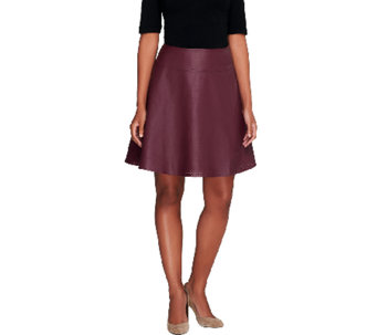 Mark of Style by Mark Zunino Perforated Faux Leather Skirt - A257656