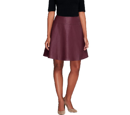 Mark of Style by Mark Zunino Perforated Faux Leather Skirt