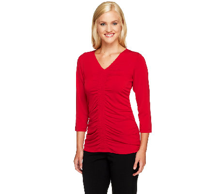 Susan Graver Liquid Knit 3/4 Sleeve Top with Front Ruching