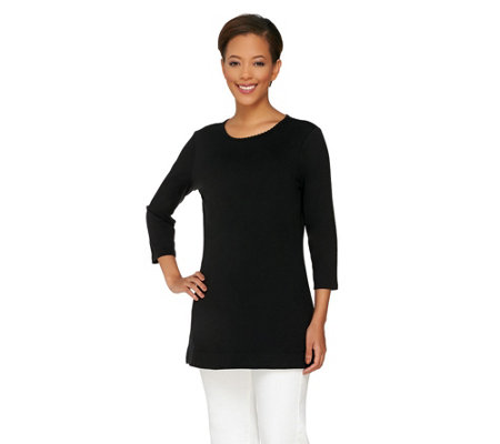 Liz Claiborne New York Essentials Tunic with Scalloped Trim