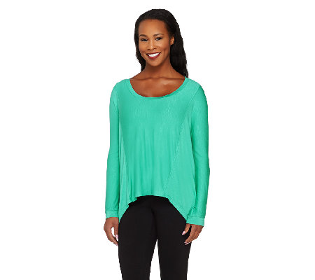 Lisa Rinna Collection Long Sleeve Sharkbite Hem Knit Top