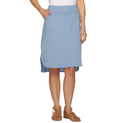 LOGO Lounge by Lori Goldstein Elastic Waist Skirt with Pockets