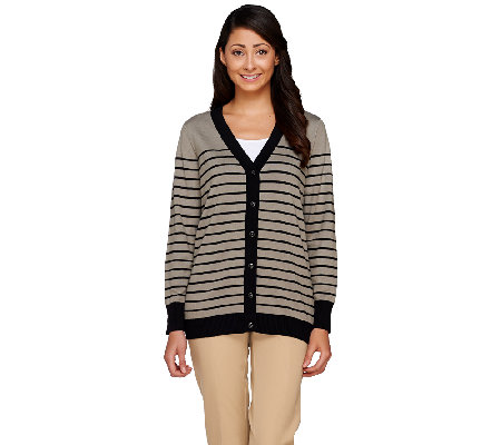 Linea by Louis Dell'Olio Whisper Knit Button Front Stripe Cardigan
