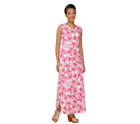 Denim & Co. Perfect Jersey Printed V-Neck Maxi Dress