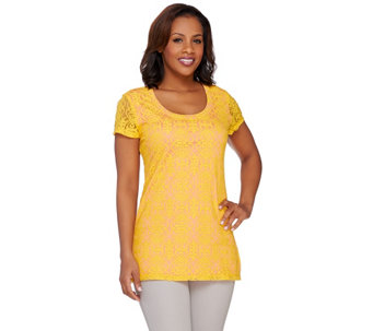 Isaac Mizrahi Live! Scroll Lace Short Sleeve Top - A263856