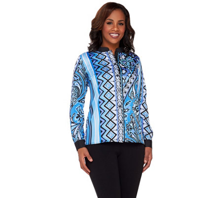 Bob Mackie's Long Sleeve Printed Button Front Top