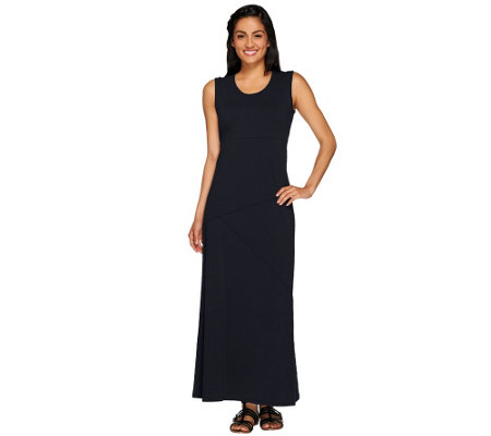 Denim & Co. Solid Jersey Maxi Dress with Asymmetrical Seam