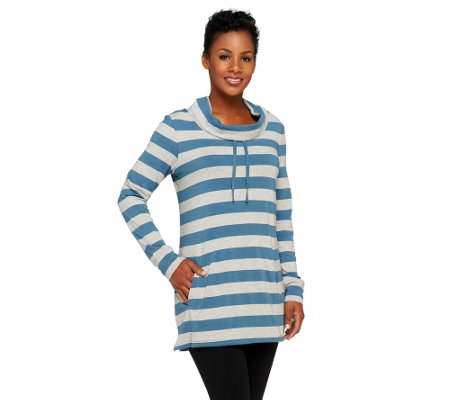 """As Is"" Denim & Co. Active Stripe Cowl Neck Top"