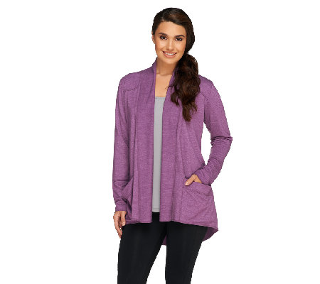 """As Is"" LOGO Lounge by Lori Goldstein Cardigan with Fold Collar"