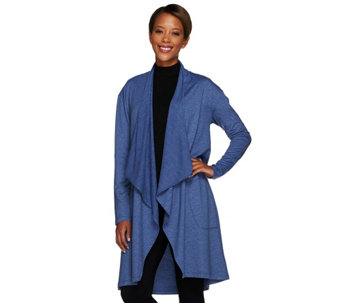 LOGO Lounge by Lori Goldstein French Terry Drape Front Cardigan - A267856