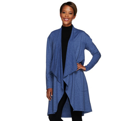 LOGO Lounge by Lori Goldstein French Terry Drape Front Cardigan