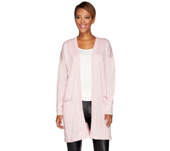 H by Halston Silk-Cashmere Blend Boyfriend Cardigan with Front Pockets - A269456