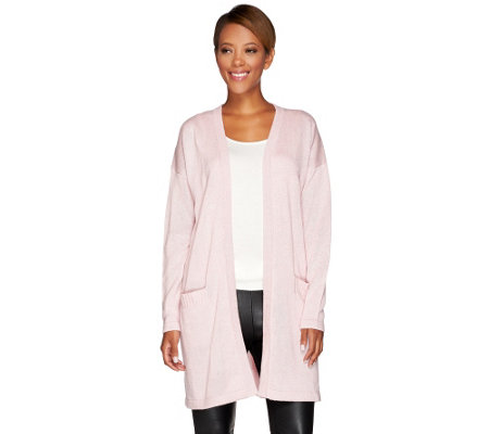H by Halston Silk-Cashmere Blend Boyfriend Cardigan with Front Pockets