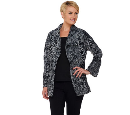 Isaac Mizrahi Live! Wood Grain Pattern Open Front Jacket