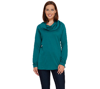 Denim & Co. Heavenly Jersey Drape Neck Tunic with Seaming Detail - A270156