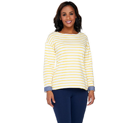 """As Is"" Denim & Co. Active Striped Long Sleeve Top w/ Chambray"