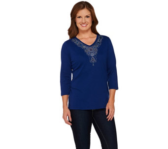 Quacker Factory Sparkles and Jewels V-Neck 3/4 Sleeve T-Shirt - A270656