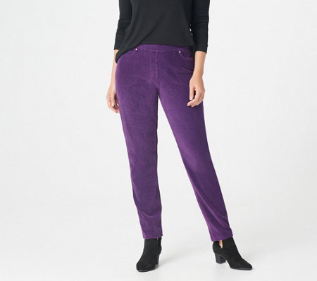 Quacker Factory Regular Knit Corduroy Pull-On Slim Leg Pant