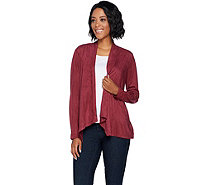 Joan Rivers Faux Suede Drape Front Cardigan - A270956