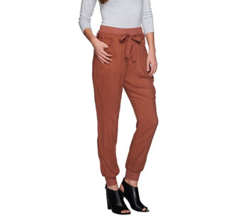 LOGO by Lori Goldstein Challis Pants with Rib Knit Detail - A273356