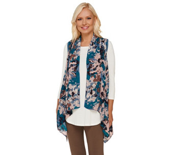 """As Is"" LOGO by Lori Goldstein Open Front Knit Vest with Printed Chiffon - A274656"