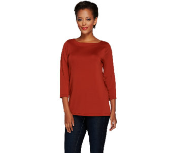 """As Is"" Susan Graver Premier Knit 3/4 Sleeve Bateau Neck Top - A274856"