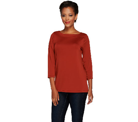 """As Is"" Susan Graver Premier Knit 3/4 Sleeve Bateau Neck Top"