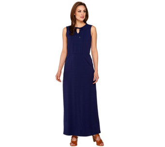 Isaac Mizrahi Live! Regular Split V-neck Knit Maxi Dress - A275656