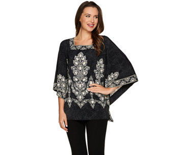 Bob Mackie's Square Neck Printed Knit Caftan Top - A276856