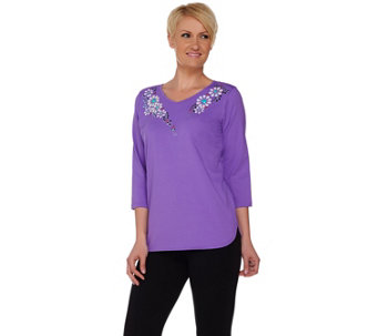 Bob Mackie's Floral Studded V-Neck Knit Top with Curved Hemline - A278156