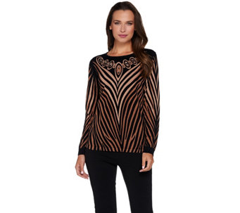 Bob Mackie's Printed Sweater with Jeweled Neckline - A279156