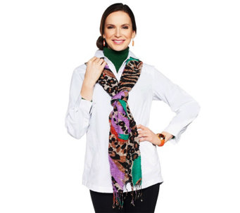 """As Is"" Joan Rivers Shimmering Leopard Print Scarf - A280756"