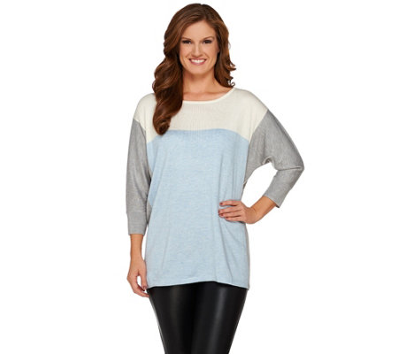 """As Is"" Susan Graver Color-Block 3/4 Sleeve Poncho Sweater"