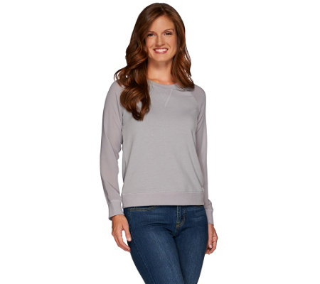 """As Is"" Lisa Rinna Collection Sweatshirt with Sheer Long Slvs"