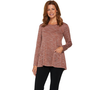 LOGO by Lori Goldstein Melange Boucle Knit Top with Embellishment - A282156