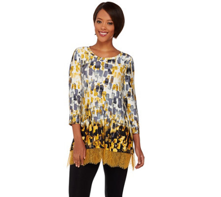 """As Is"" LOGO by Lori Goldstein Printed Knit Top with Lace Trim"
