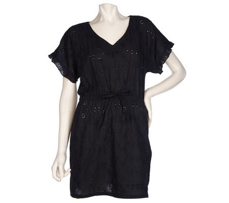 """As Is"" RUYI Cotton Eyelet Cover-Up Tunic with Drawstring Waist"