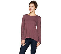 LOGO by Lori Goldstein Cotton Slub Knit Top with Asymmetric Hem - A283656