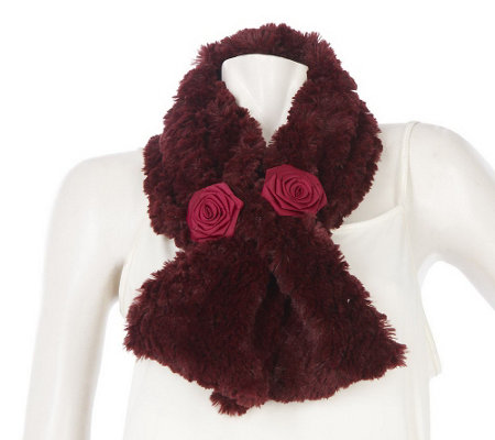 """As Is"" Dennis Basso Pull Through Faux Fur Scarf with Flower Detail"