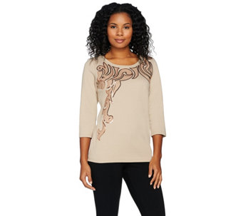 Bob Mackie's Embroidered Pull-Over Knit Top with Sequins - A284356