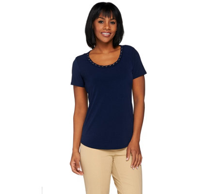 """As Is"" Susan Graver Liquid Knit Top with Braided Trim"